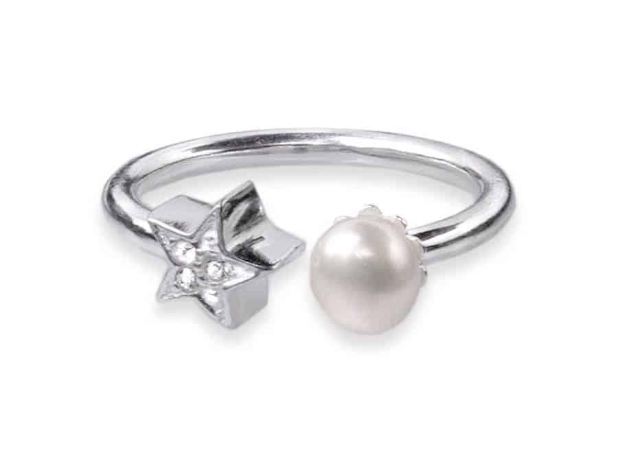 anillo de plata de ley con perla y estrella