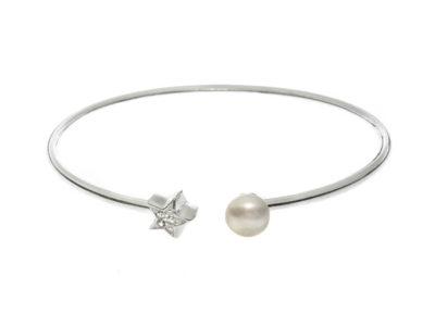 brazalete plata de ley con perla y estrella cristales